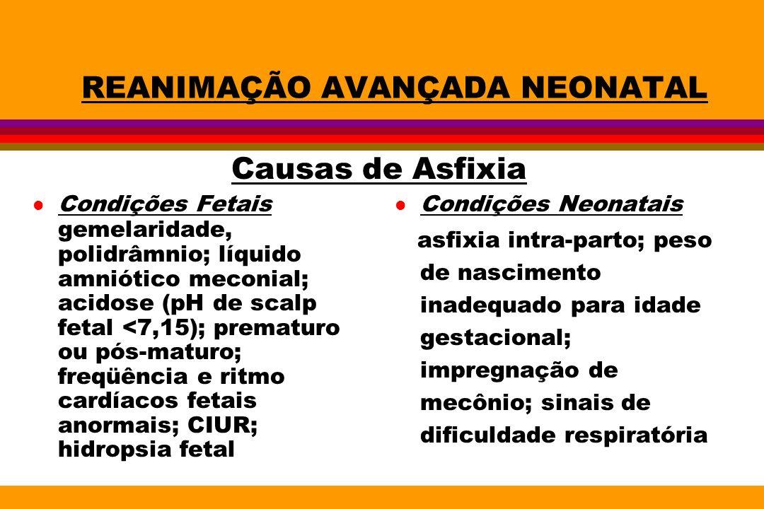 REANIMAÇÃO AVANÇADA NEONATAL l Condições Fetais gemelaridade, polidrâmnio; líquido amniótico meconial; acidose (pH de scalp fetal <7,15); prematuro ou