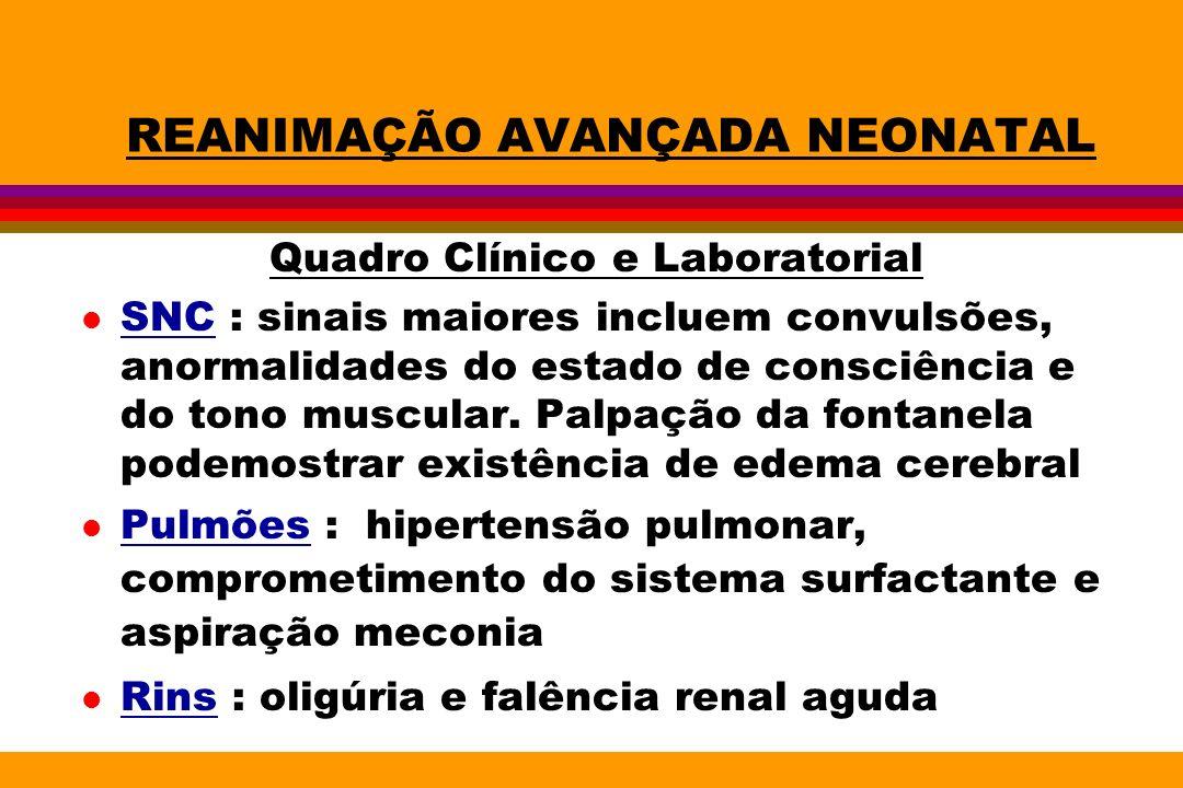 REANIMAÇÃO AVANÇADA NEONATAL Quadro Clínico e Laboratorial l SNC : sinais maiores incluem convulsões, anormalidades do estado de consciência e do tono