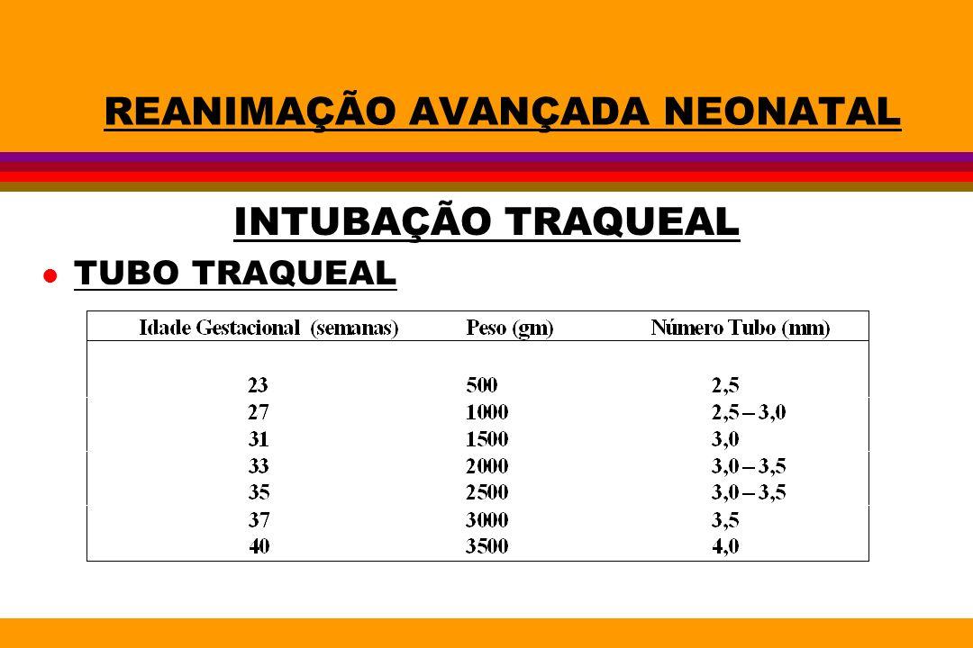 REANIMAÇÃO AVANÇADA NEONATAL INTUBAÇÃO TRAQUEAL l TUBO TRAQUEAL