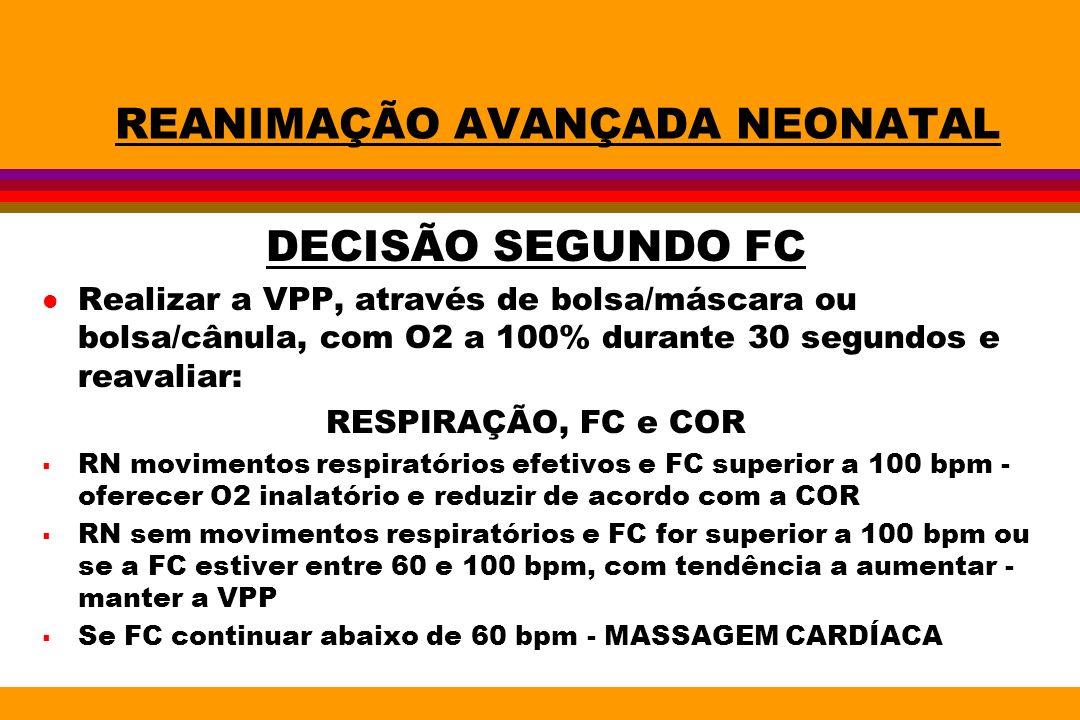REANIMAÇÃO AVANÇADA NEONATAL DECISÃO SEGUNDO FC l Realizar a VPP, através de bolsa/máscara ou bolsa/cânula, com O2 a 100% durante 30 segundos e reaval