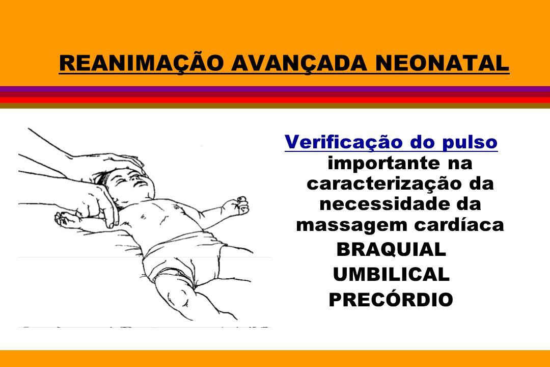 REANIMAÇÃO AVANÇADA NEONATAL Verificação do pulso importante na caracterização da necessidade da massagem cardíaca BRAQUIAL UMBILICAL PRECÓRDIO
