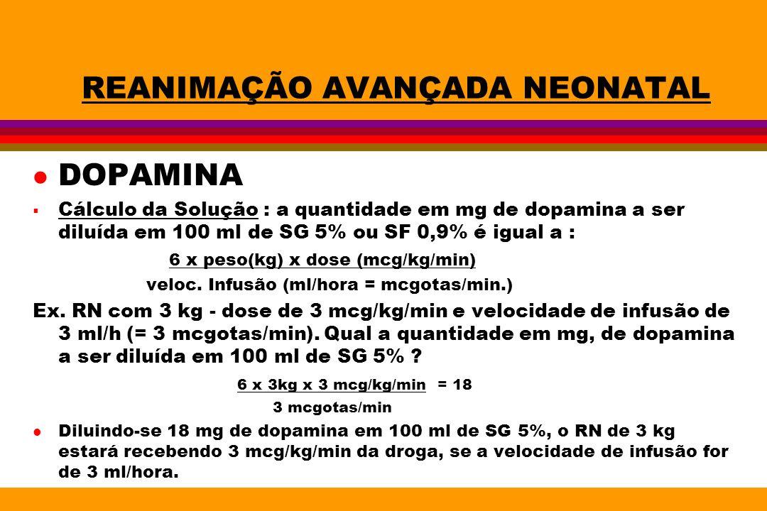 REANIMAÇÃO AVANÇADA NEONATAL l DOPAMINA Cálculo da Solução : a quantidade em mg de dopamina a ser diluída em 100 ml de SG 5% ou SF 0,9% é igual a : 6