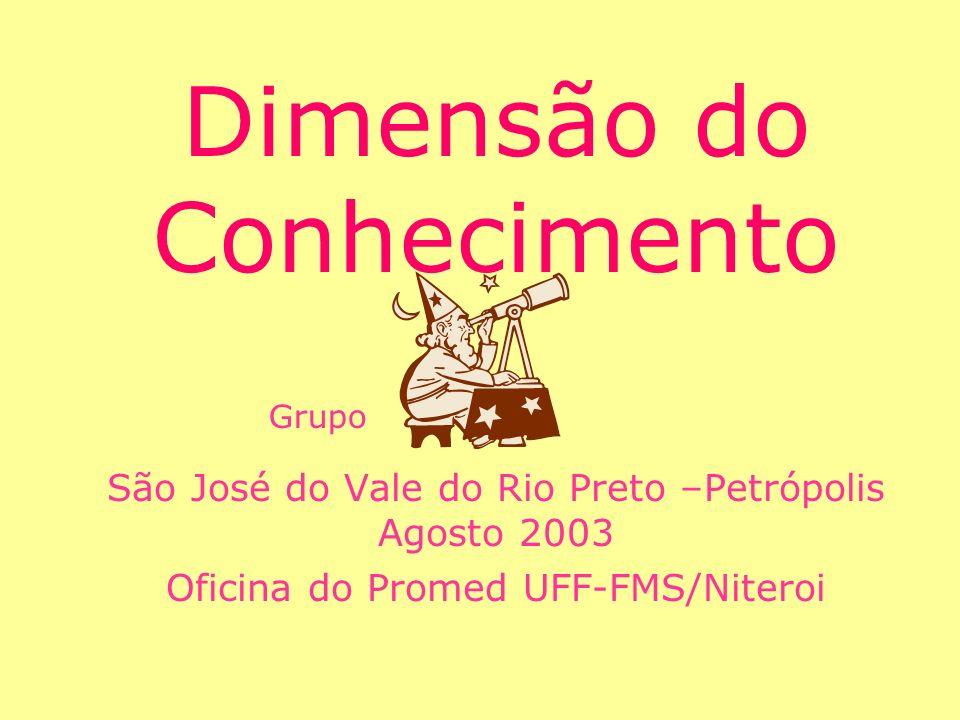 Dimensão do Conhecimento São José do Vale do Rio Preto –Petrópolis Agosto 2003 Oficina do Promed UFF-FMS/Niteroi Grupo