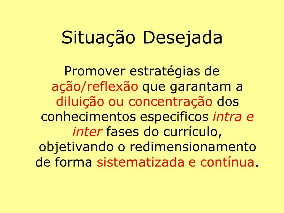 Promover estratégias de ação/reflexão que garantam a diluição ou concentração dos conhecimentos especificos intra e inter fases do currículo, objetiva