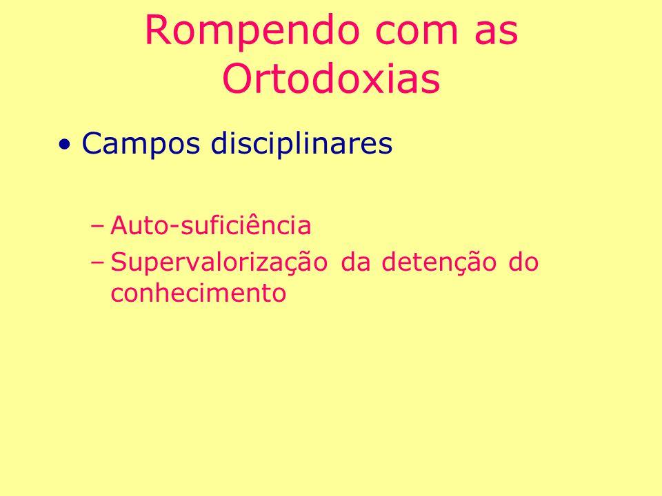 Rompendo com as Ortodoxias Campos disciplinares –Auto-suficiência –Supervalorização da detenção do conhecimento