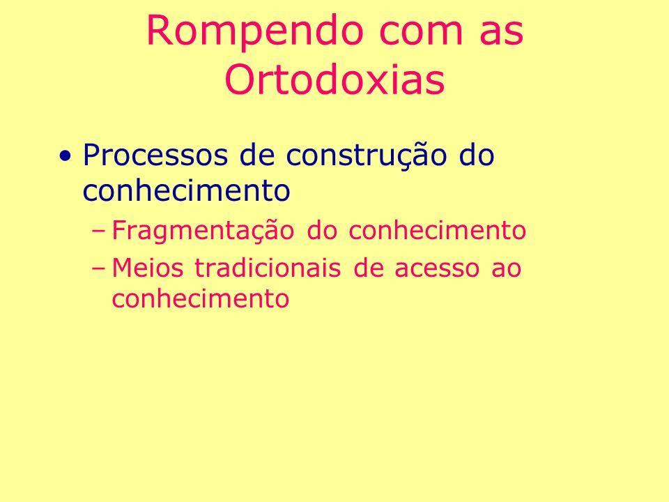 Rompendo com as Ortodoxias Processos de construção do conhecimento –Fragmentação do conhecimento –Meios tradicionais de acesso ao conhecimento