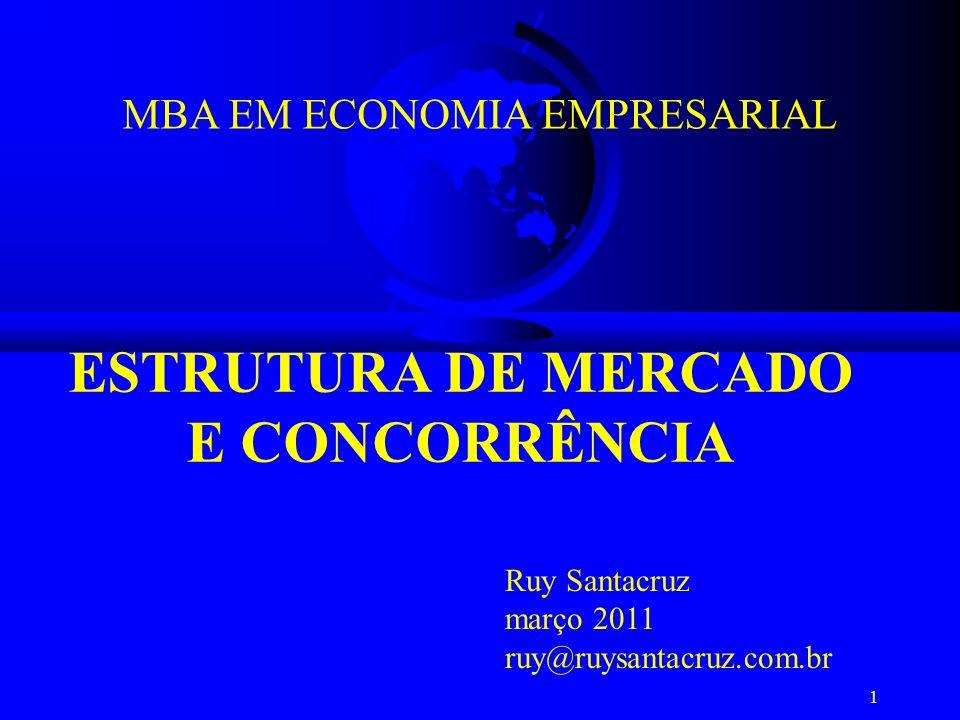 1 ESTRUTURA DE MERCADO E CONCORRÊNCIA MBA EM ECONOMIA EMPRESARIAL Ruy Santacruz março 2011 ruy@ruysantacruz.com.br