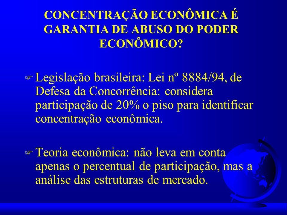 CONCENTRAÇÃO ECONÔMICA É GARANTIA DE ABUSO DO PODER ECONÔMICO? F Legislação brasileira: Lei nº 8884/94, de Defesa da Concorrência: considera participa