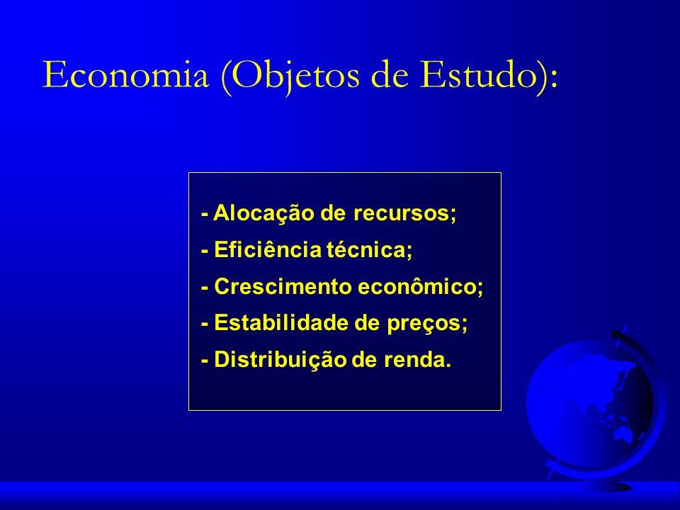 - Alocação de recursos; - Eficiência técnica; - Crescimento econômico; - Estabilidade de preços; - Distribuição de renda. Economia (Objetos de Estudo)