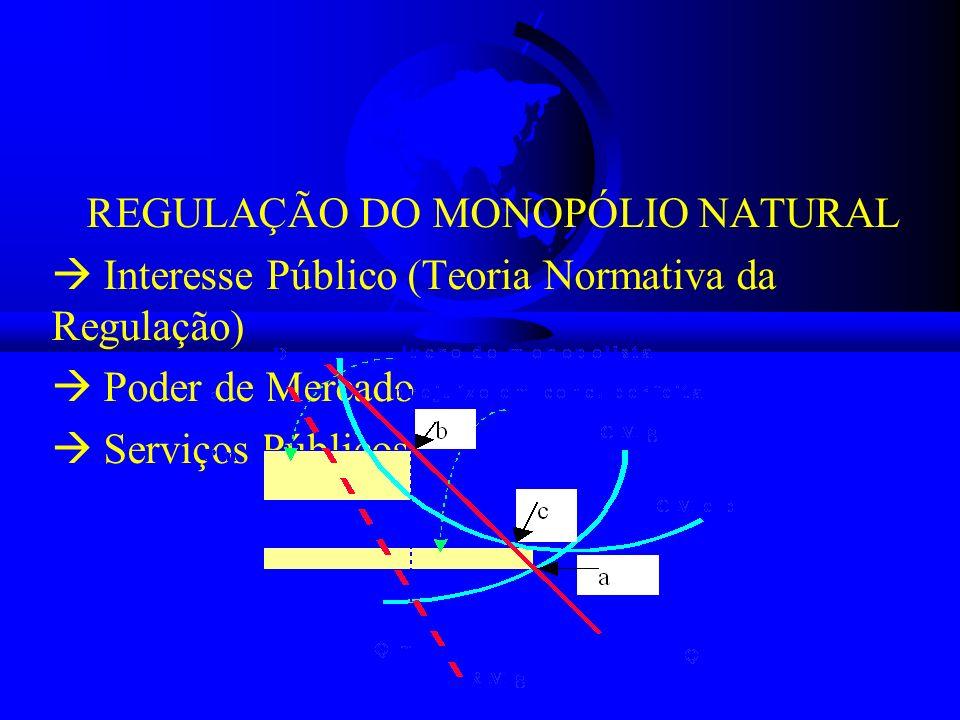 REGULAÇÃO DO MONOPÓLIO NATURAL Interesse Público (Teoria Normativa da Regulação) Poder de Mercado Serviços Públicos