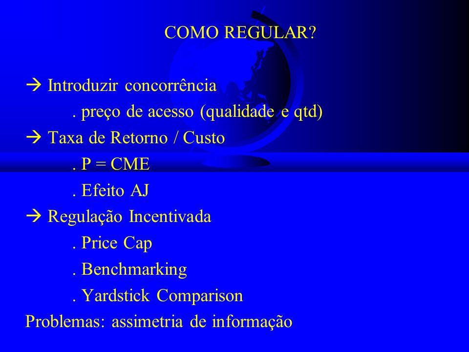 COMO REGULAR? Introduzir concorrência. preço de acesso (qualidade e qtd) Taxa de Retorno / Custo. P = CME. Efeito AJ Regulação Incentivada. Price Cap.