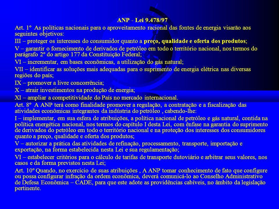 ANP - Lei 9.478/97 Art. 1º As políticas nacionais para o aproveitamento racional das fontes de energia visarão aos seguintes objetivos: III – proteger