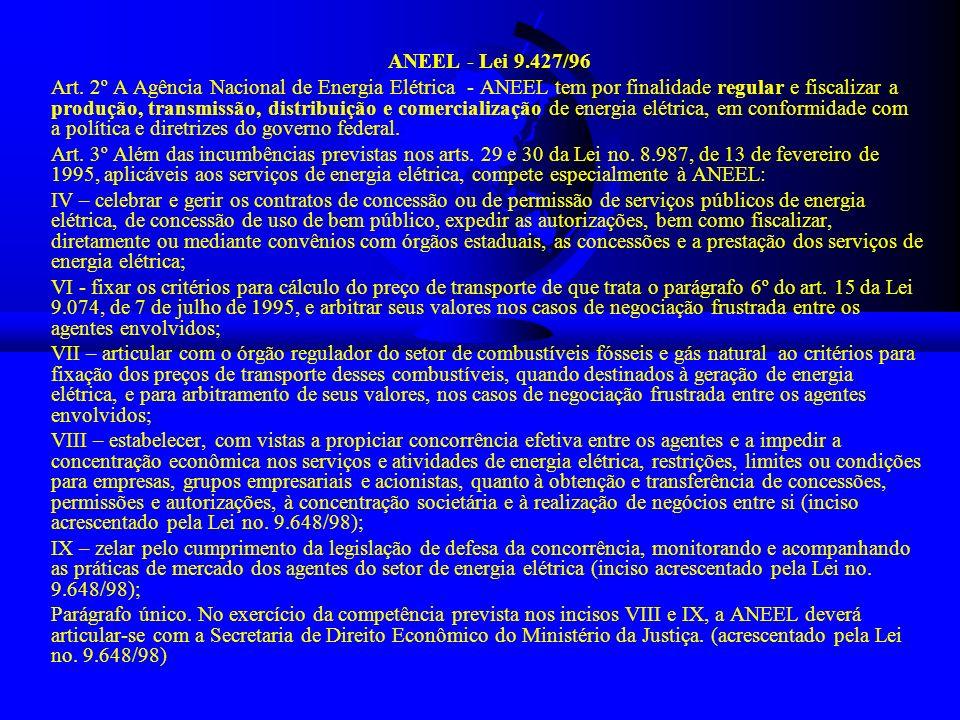 ANEEL - Lei 9.427/96 Art. 2º A Agência Nacional de Energia Elétrica - ANEEL tem por finalidade regular e fiscalizar a produção, transmissão, distribui