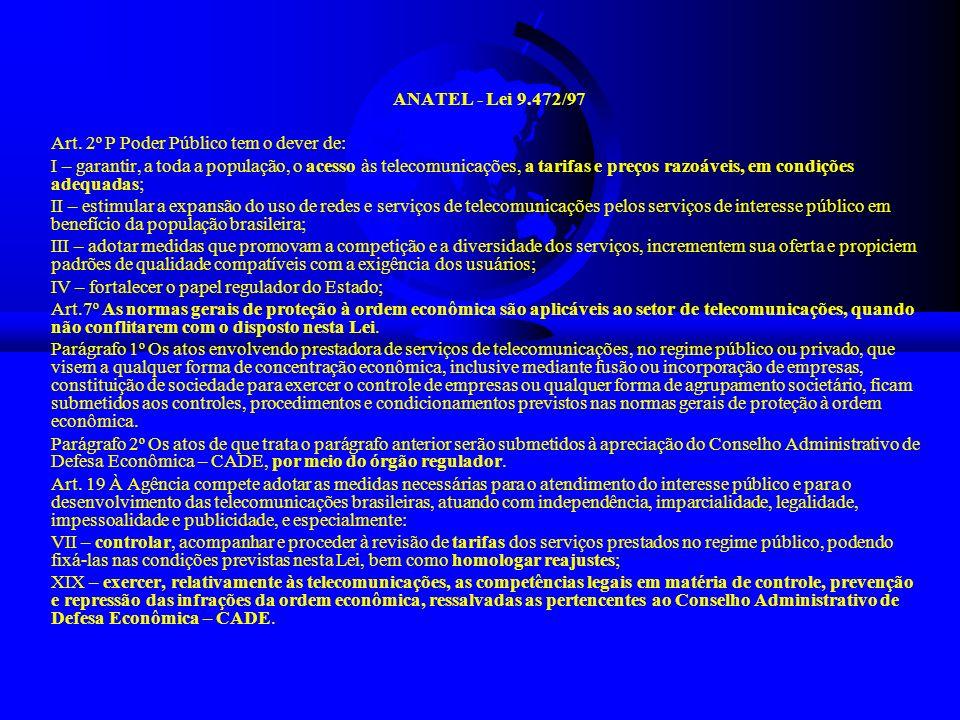 ANATEL - Lei 9.472/97 Art. 2º P Poder Público tem o dever de: I – garantir, a toda a população, o acesso às telecomunicações, a tarifas e preços razoá