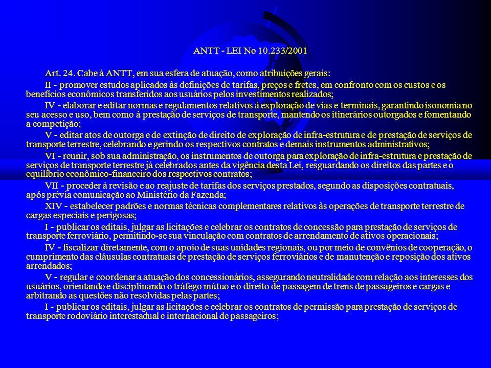ANTT - LEI No 10.233/2001 Art. 24. Cabe à ANTT, em sua esfera de atuação, como atribuições gerais: II - promover estudos aplicados às definições de ta