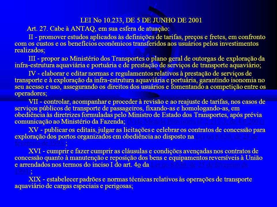 LEI No 10.233, DE 5 DE JUNHO DE 2001 Art. 27. Cabe à ANTAQ, em sua esfera de atuação: II - promover estudos aplicados às definições de tarifas, preços