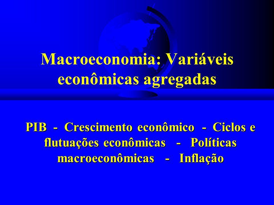 Macroeconomia: Variáveis econômicas agregadas PIB - Crescimento econômico - Ciclos e flutuações econômicas - Políticas macroeconômicas - Inflação