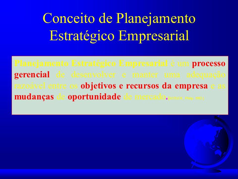Conceito de Planejamento Estratégico Empresarial Planejamento Estratégico Empresarial é um processo gerencial de desenvolver e manter uma adequação ra