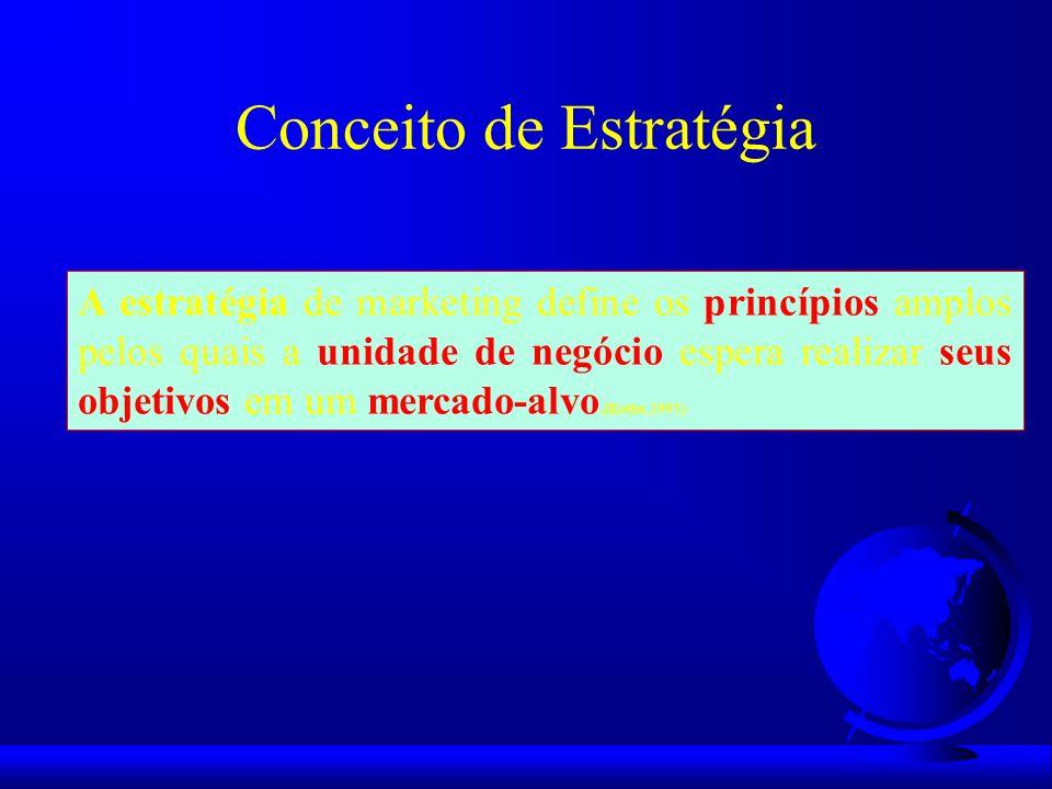 Conceito de Estratégia A estratégia de marketing define os princípios amplos pelos quais a unidade de negócio espera realizar seus objetivos em um mer