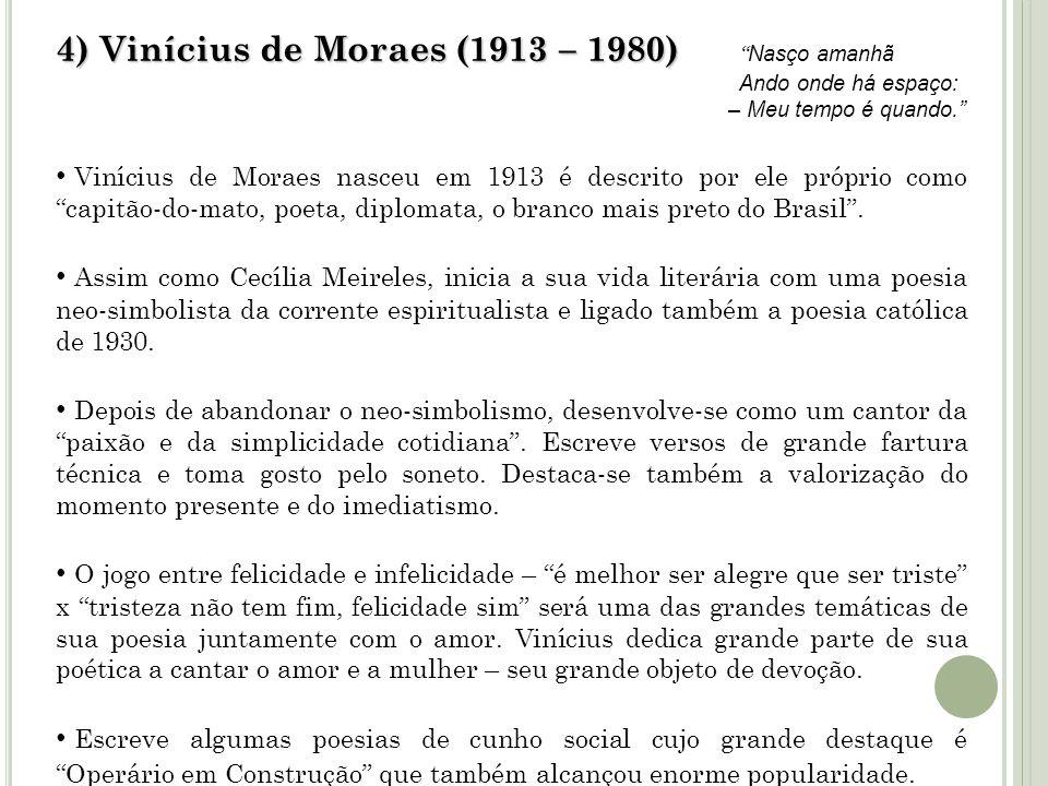 4) Vinícius de Moraes (1913 – 1980) 4) Vinícius de Moraes (1913 – 1980) Nasço amanhã Ando onde há espaço: – Meu tempo é quando. Vinícius de Moraes nas