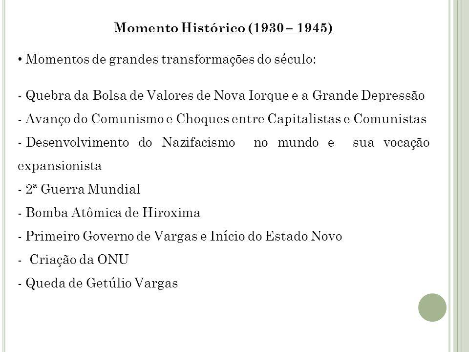 Momento Histórico (1930 – 1945) Momentos de grandes transformações do século: - Quebra da Bolsa de Valores de Nova Iorque e a Grande Depressão - Avanç