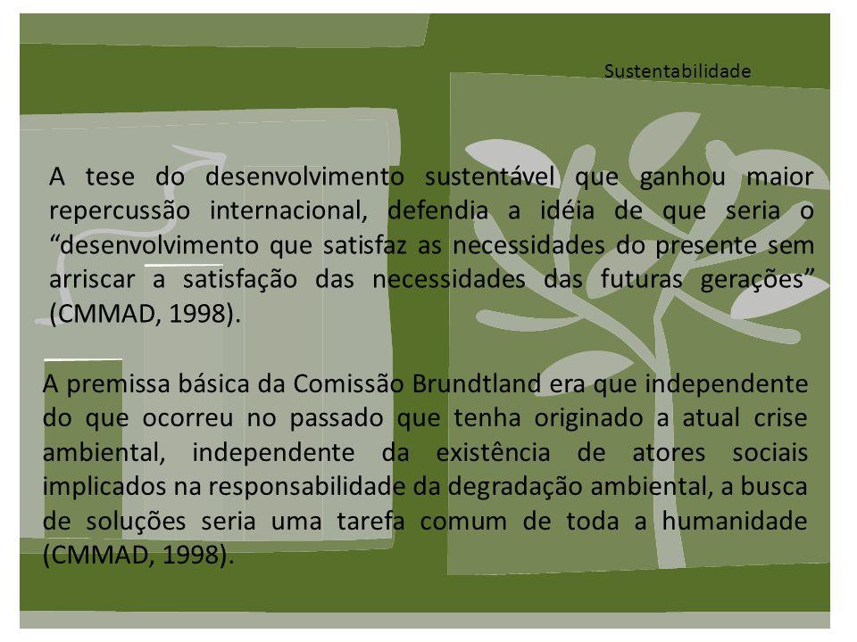 Sustentabilidade A tese do desenvolvimento sustentável que ganhou maior repercussão internacional, defendia a idéia de que seria o desenvolvimento que