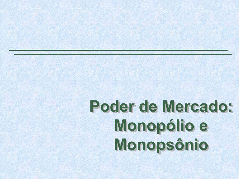 Poder de Mercado: Monopólio e Monopsônio Poder de Mercado: Monopólio e Monopsônio