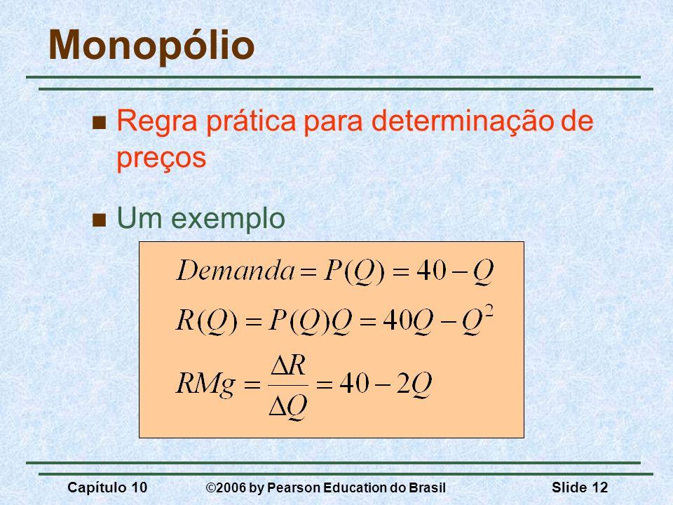Capítulo 10 ©2006 by Pearson Education do Brasil Slide 12 Monopólio Regra prática para determinação de preços Um exemplo