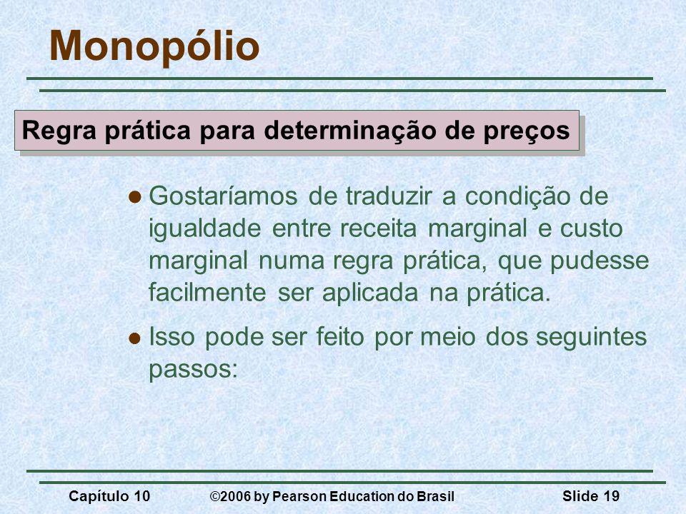 Capítulo 10 ©2006 by Pearson Education do Brasil Slide 19 Monopólio Gostaríamos de traduzir a condição de igualdade entre receita marginal e custo mar