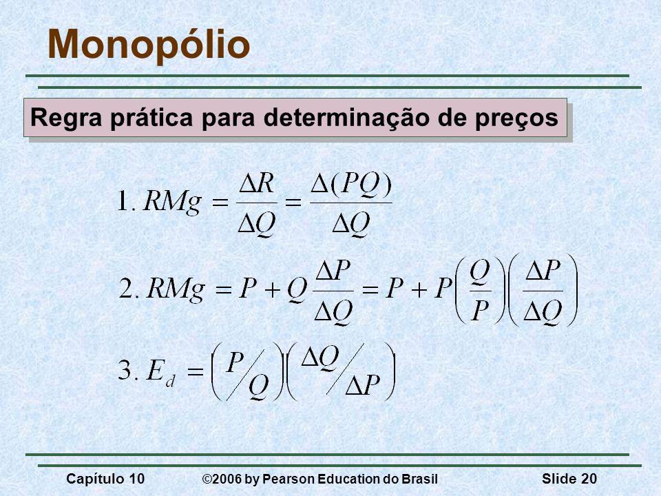 Capítulo 10 ©2006 by Pearson Education do Brasil Slide 20 Monopólio Regra prática para determinação de preços