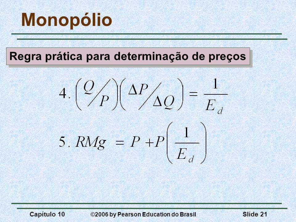 Capítulo 10 ©2006 by Pearson Education do Brasil Slide 21 Monopólio Regra prática para determinação de preços