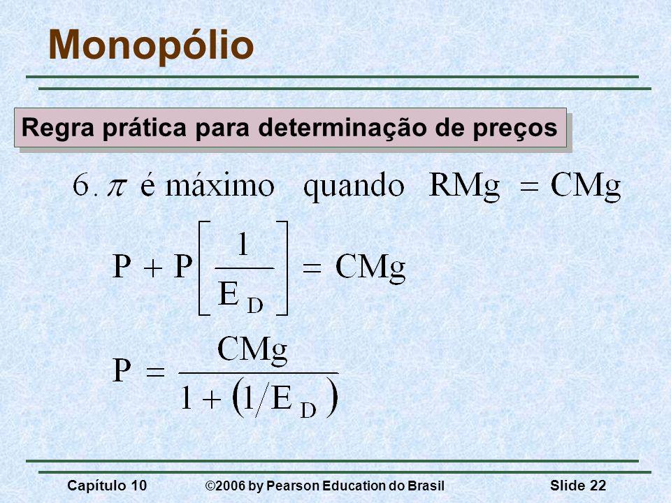 Capítulo 10 ©2006 by Pearson Education do Brasil Slide 22 Monopólio Regra prática para determinação de preços