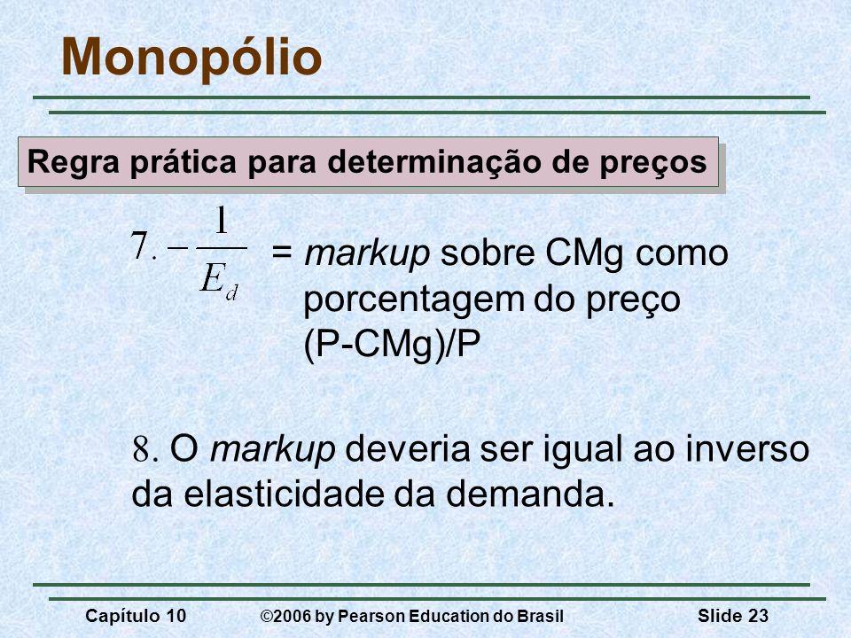 Capítulo 10 ©2006 by Pearson Education do Brasil Slide 23 = markup sobre CMg como porcentagem do preço (P-CMg)/P Monopólio 8. O markup deveria ser igu