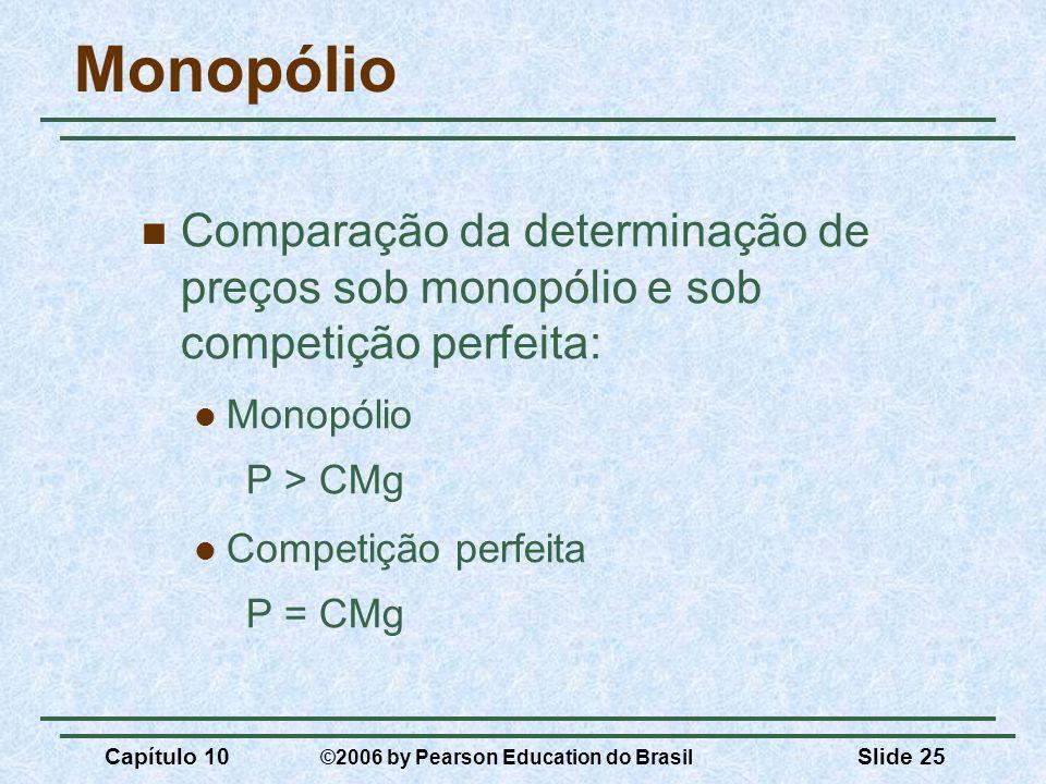 Capítulo 10 ©2006 by Pearson Education do Brasil Slide 25 Monopólio Comparação da determinação de preços sob monopólio e sob competição perfeita: Mono
