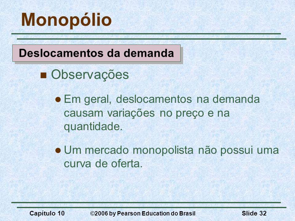 Capítulo 10 ©2006 by Pearson Education do Brasil Slide 32 Monopólio Observações Em geral, deslocamentos na demanda causam variações no preço e na quan