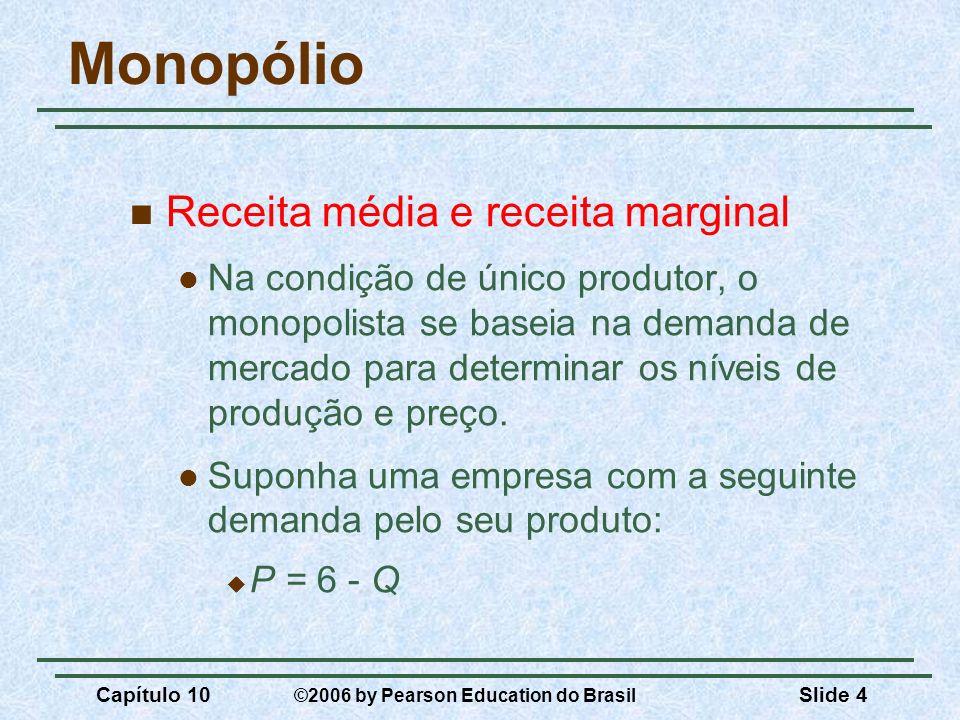 Capítulo 10 ©2006 by Pearson Education do Brasil Slide 4 Monopólio Receita média e receita marginal Na condição de único produtor, o monopolista se ba