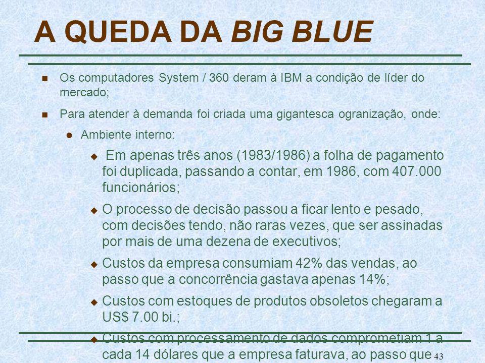 43 A QUEDA DA BIG BLUE Os computadores System / 360 deram à IBM a condição de líder do mercado; Para atender à demanda foi criada uma gigantesca ogran