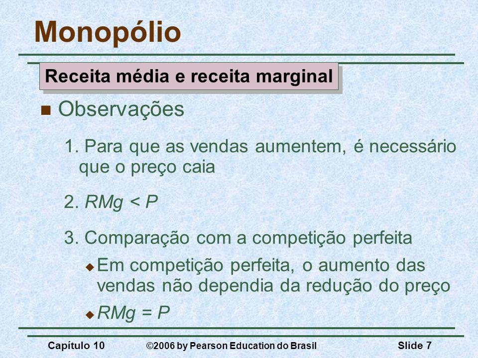 Capítulo 10 ©2006 by Pearson Education do Brasil Slide 7 Monopólio Observações 1. Para que as vendas aumentem, é necessário que o preço caia 2. RMg <