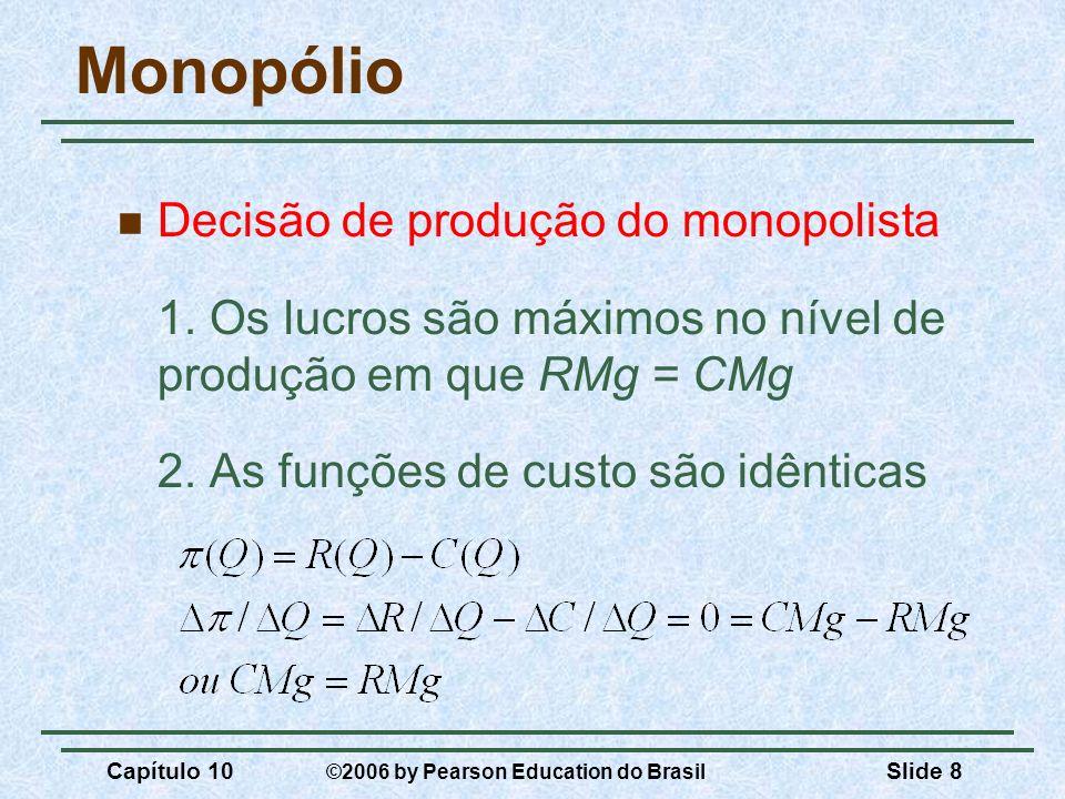 Capítulo 10 ©2006 by Pearson Education do Brasil Slide 8 Monopólio Decisão de produção do monopolista 1. Os lucros são máximos no nível de produção em