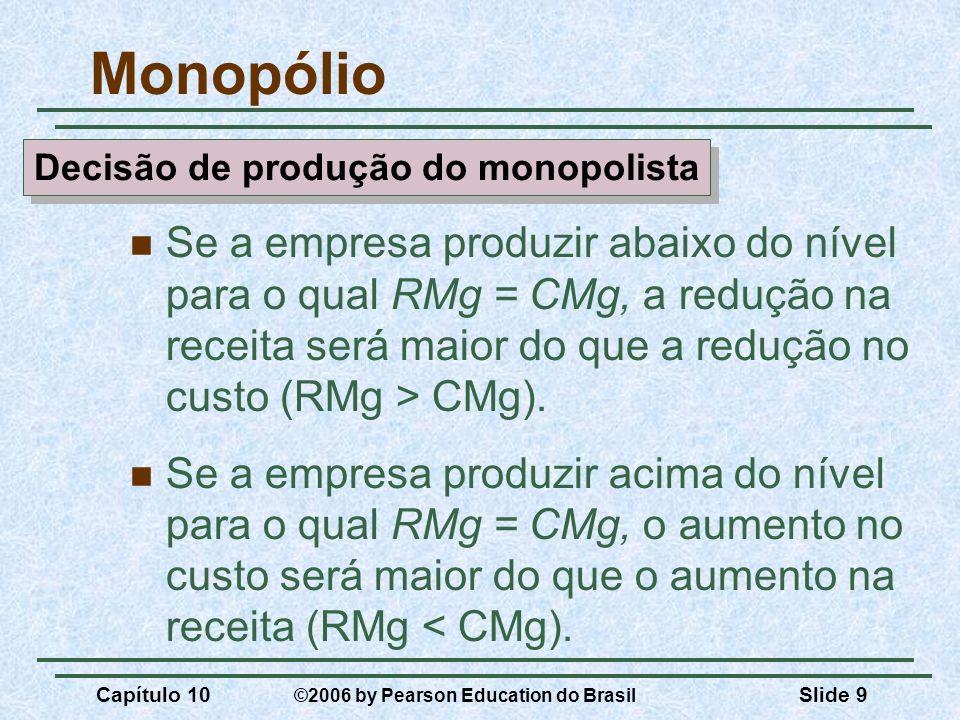 Capítulo 10 ©2006 by Pearson Education do Brasil Slide 9 Monopólio Se a empresa produzir abaixo do nível para o qual RMg = CMg, a redução na receita s