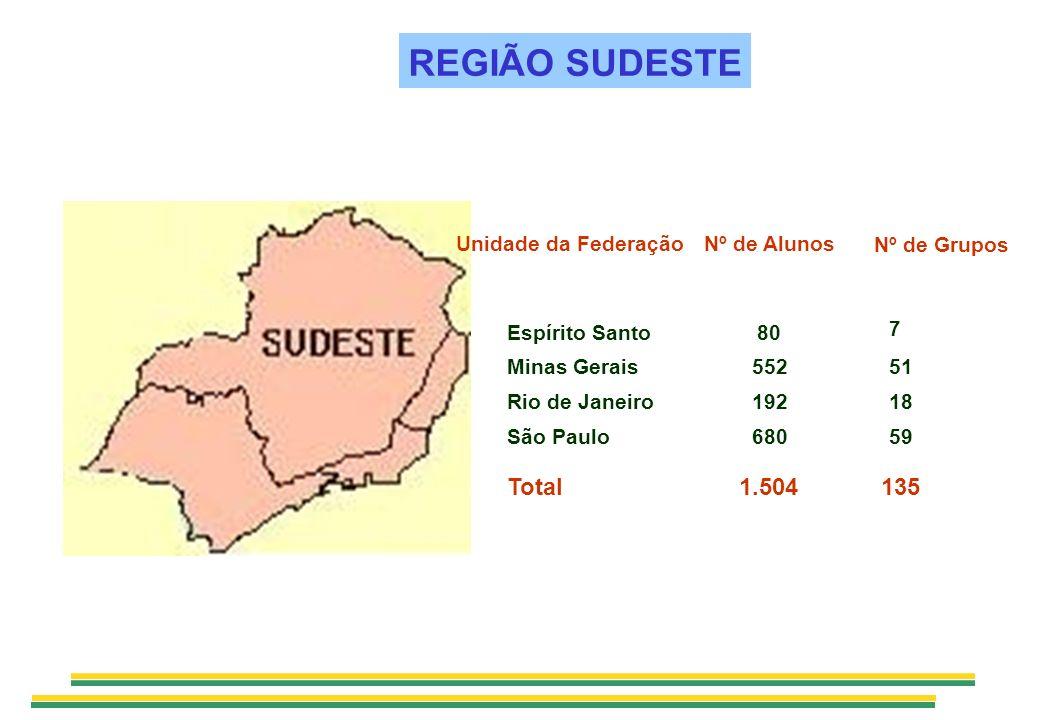 REGIÃO SUDESTE 1351.504Total 51552Minas Gerais 59680São Paulo 18192Rio de Janeiro Nº de Alunos Bolsistas 80 Nº de Grupos Grupos 7 Unidade da Federação