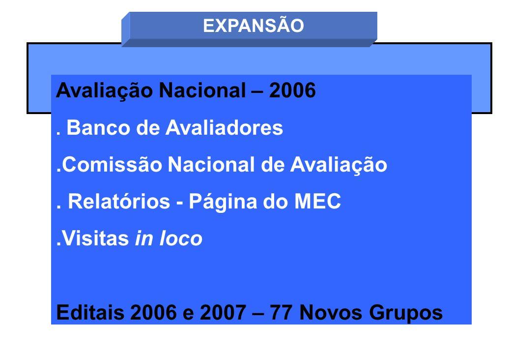 Avaliação Nacional – 2006. Banco de Avaliadores.Comissão Nacional de Avaliação. Relatórios - Página do MEC.Visitas in loco Editais 2006 e 2007 – 77 No