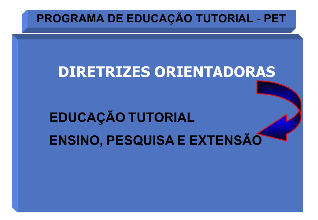 PROGRAMA DE EDUCAÇÃO TUTORIAL - PET DIRETRIZES ORIENTADORAS EDUCAÇÃO TUTORIAL ENSINO, PESQUISA E EXTENSÃO