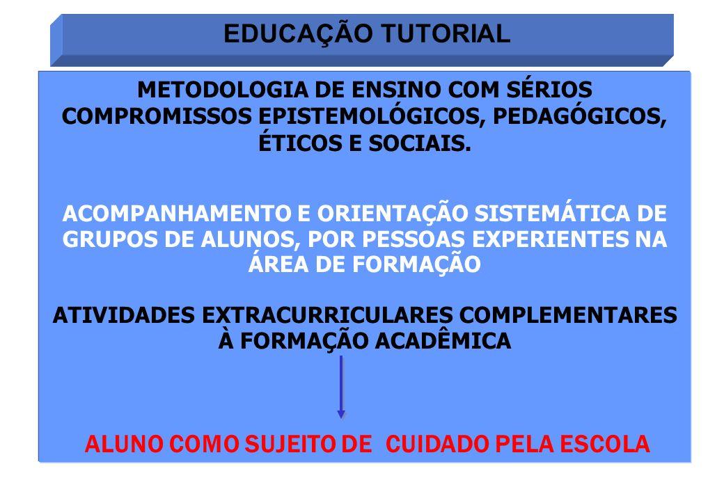EDUCAÇÃO TUTORIAL METODOLOGIA DE ENSINO COM SÉRIOS COMPROMISSOS EPISTEMOLÓGICOS, PEDAGÓGICOS, ÉTICOS E SOCIAIS. ACOMPANHAMENTO E ORIENTAÇÃO SISTEMÁTIC
