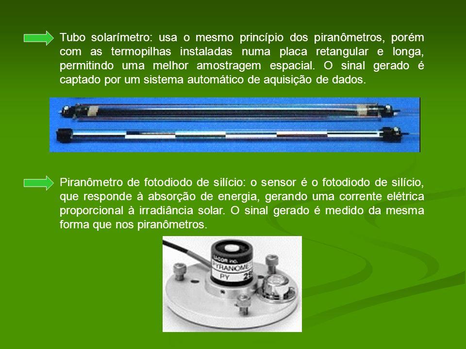 Tubo solarímetro: usa o mesmo princípio dos piranômetros, porém com as termopilhas instaladas numa placa retangular e longa, permitindo uma melhor amo