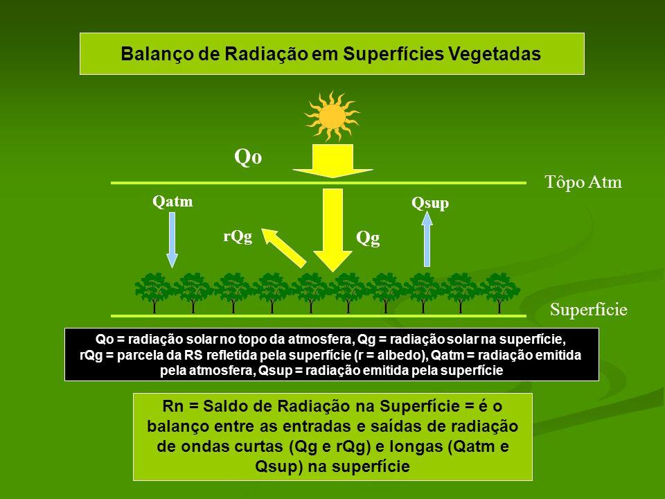 Balanço de Radiação em Superfícies Vegetadas Superfície Tôpo Atm Qo Qg rQg Qsup Qatm Rn = Saldo de Radiação na Superfície = é o balanço entre as entra