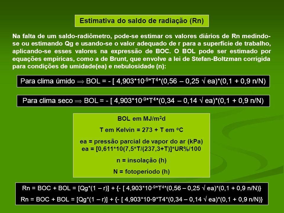 Estimativa do saldo de radiação (Rn) Na falta de um saldo-radiômetro, pode-se estimar os valores diários de Rn medindo- se ou estimando Qg e usando-se