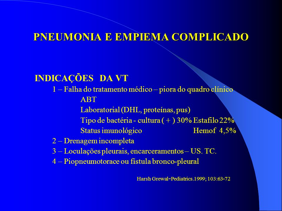 NOSSA EXPERIÊNCIA EMPIEMA COMPLICADO Mini toracotomiaVT Dreno pré-operatório18 dias 8,2 dias Dreno pós-operatório 9,3 dias 5 dias Febre pós-operatória