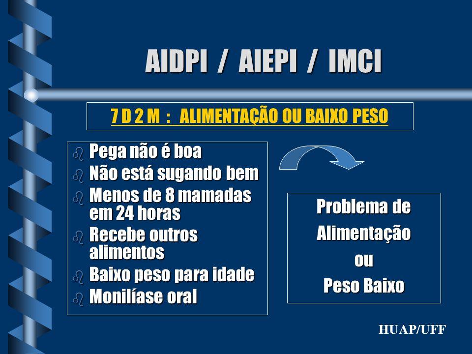 AIDPI / AIEPI / IMCI b Pega não é boa b Não está sugando bem b Menos de 8 mamadas em 24 horas b Recebe outros alimentos b Baixo peso para idade b Moni