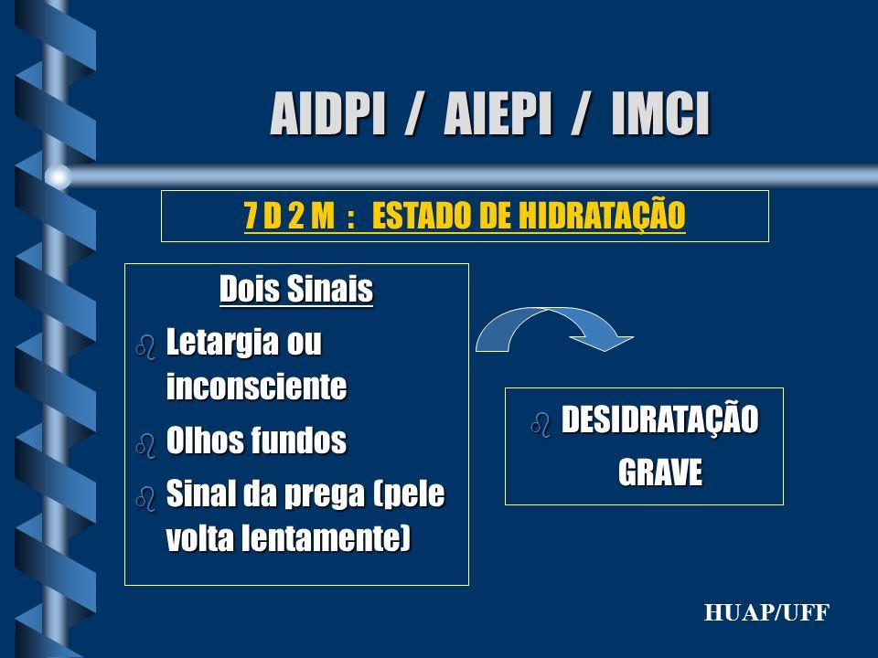 AIDPI / AIEPI / IMCI Dois Sinais b Letargia ou inconsciente b Olhos fundos b Sinal da prega (pele volta lentamente) 7 D 2 M : ESTADO DE HIDRATAÇÃO b D
